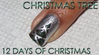 getlinkyoutube.com-12 Days of Christmas, Day 7: Striping Tape Christmas Tree   Nail Art Tutorial