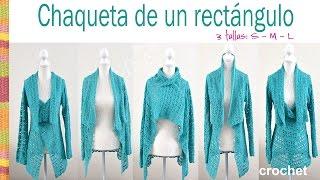 getlinkyoutube.com-Chaqueta fantasía turquesa tejida de un rectángulo a crochet en 3 tallas: Small, medium y large!