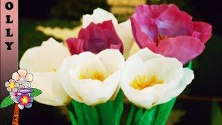 getlinkyoutube.com-How to make paper flowers : Crocus | paper flowers tutorial | Paper flowers decoration