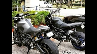 getlinkyoutube.com-2 fz-09/mt-09's with arrow and akrapovic exhaust at bike night party, yamaha, suzuki, honda