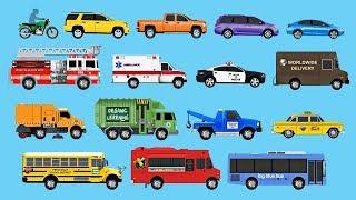 getlinkyoutube.com-Learning Street Vehicles for Children - Learn Cars, Trucks, Fire Engines, Garbage Trucks, & More