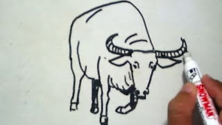 getlinkyoutube.com-How to Draw a Buffalo (Cara Menggambar Kerbau)