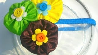 getlinkyoutube.com-Tutorial accesorios flores de tela cabello DIY