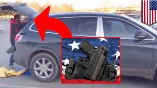 getlinkyoutube.com-Open carry gone wrong: Man fires 6 shots at shoplifter's fleeing getaway car in Montana - TomoNews
