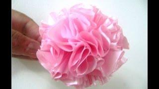 getlinkyoutube.com-Moños claveles rellenos en telas para el cabello