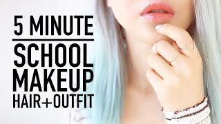 getlinkyoutube.com-Late for School Routine ♥ 5 Minute Makeup, Hairstyle & Clothes Outfit Tips ♥ Back To School ♥ Wengie