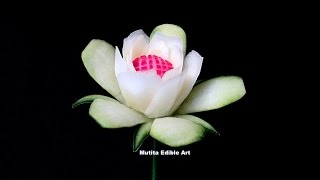getlinkyoutube.com-Cucumber Rose Lily Flower | Beginners Lesson 132 | Mutita Unique Art Of Fruit Vegetable Carving