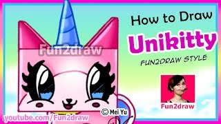 getlinkyoutube.com-CUTE Unikitty - How to Draw for Kids - Lego Movie Kawaii Style Tutorial Fun2draw