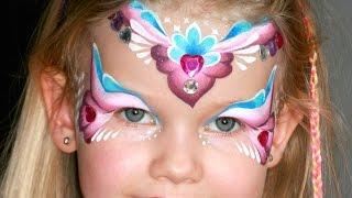 getlinkyoutube.com-Pink heart princess face painting tutorial - Princess makeup with jewels!