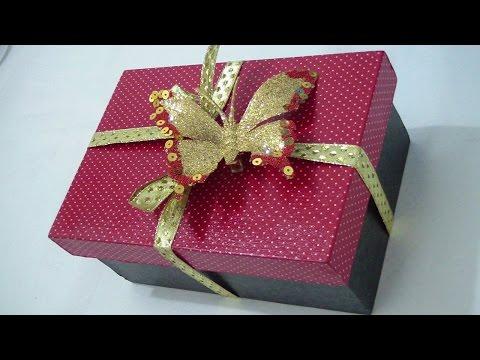 Caixa de Presente em MDF revestida com tecido