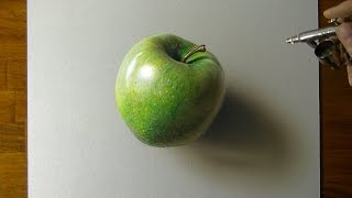 getlinkyoutube.com-Drawing a Green Apple - How to draw 3D art