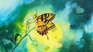 getlinkyoutube.com-Butterfly and Bokeh effect Beginner Step by step acrylic painting tutorial