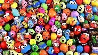 getlinkyoutube.com-Huge 105 Huevos Sorpresa Pocoyo PeppaPig MonsterHigh Disney Frozen Play-Dough Cookie Monster Cars
