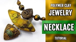 DIY Unusual Polymer Clay Necklace with Faux Labradorite. How to make stylish Necklace!