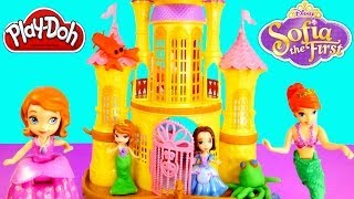getlinkyoutube.com-Ariel Little Mermaid Sofia The First Floating Sea Palace Play Doh Princess Disney Toys