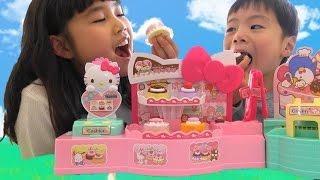 getlinkyoutube.com-Hello Kitty Toy Spinning Cake Factory and Cake shop キティちゃん おもちゃ くるくるファクトリーとケーキ屋さん