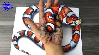 How to draw a 3D snake / Cómo dibujar  una culebra 3D /Ilusion optica