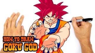 getlinkyoutube.com-How to Draw Goku God   Dragon Ball Z