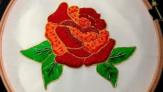 getlinkyoutube.com-Hand Embroidery: Rose Embroidery (Fancy)
