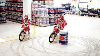 getlinkyoutube.com-Honda World Motocross skids and wheelies - Nils 2013 factory visit