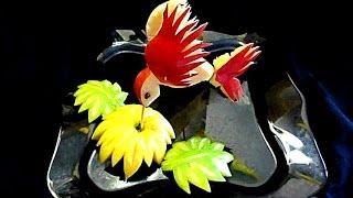 getlinkyoutube.com-Птица из яблока. Карвинг из яблока! Bird  of the apple! Карвинг из яблока. Украшения из фруктов.