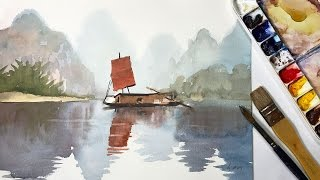 getlinkyoutube.com-How to Paint a Watercolor Landscape of a Sailboat
