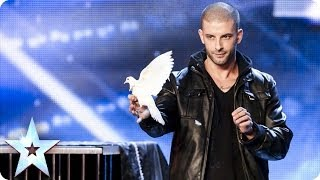 getlinkyoutube.com-Darcy Oake's jaw-dropping dove illusions | Britain's Got Talent 2014