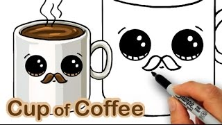 getlinkyoutube.com-How to Draw a Cartoon Cup of Coffee Cute and Easy with Mustache
