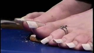 getlinkyoutube.com-Long French Toenail Nail Crush