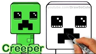 getlinkyoutube.com-How to Draw a Minecraft Creeper Cute and Easy