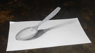 """getlinkyoutube.com-Melukis dengan pensil Ilusi 3d """"sendok"""""""