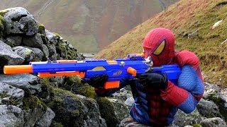 NERF GUN WAR Sniper SPIDERMAN (BB, Air, Pellet, Nerf Serie) Nerf Longstrike. SPIDERMAN vs SOLDIERS