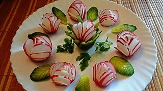 getlinkyoutube.com-Украшения из редиса и огурца! Decoration of radish and cucumber!