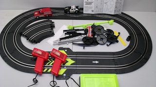 getlinkyoutube.com-Fast Lane Speedway Rescue Racing Slot Car Track Set Fire Truck & Police Car