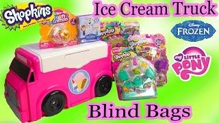 getlinkyoutube.com-Surprise Ice Cream Truck Blind Bags Shopkins Season 3 Funko Disney Frozen Mystery Minis MLP Video