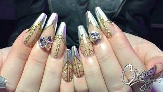 getlinkyoutube.com-How to sculpt acrylic nails with chrome design