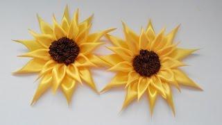 getlinkyoutube.com-sunflowers of satin ribbons / подсолнухи из атласных лент