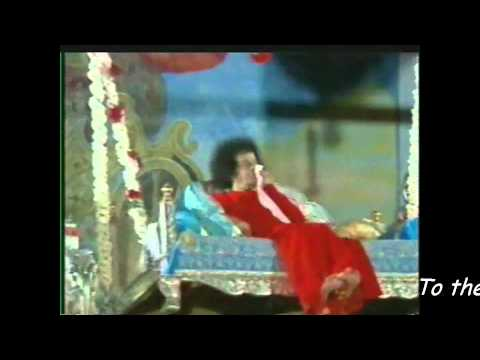 Sri Sathya Sai Baba video - Sai Baba swings  during a Lullaby song  (with English sub-titles).