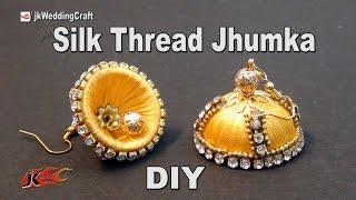 getlinkyoutube.com-DIY Silk Thread Jhumka  | Return Gift Idea | How to make  Jewelry | JK Wedding Craft 103