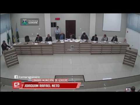Vereador Joaquim Rafael Neto na sessão da Câmara Municipal de Goioerê nesta segunda-feira, 12