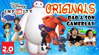 getlinkyoutube.com-Dad & Son play Disney Infinity 2.0 ORIGINALS - BIG HERO 6: BAYMAX & HIRO, Donald Duck Stitch Aladdin