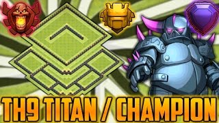 Clash of Clans - Insane Town Hall 9 (TH9) Champion/Titan Base - Trophy Pushing 2016