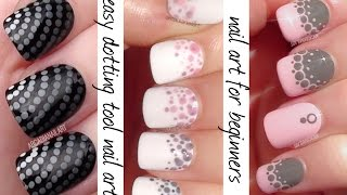 getlinkyoutube.com-Dotting Tool Nail Art - 3 Easy Nail Designs For Beginners | ArcadiaNailArt