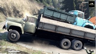 getlinkyoutube.com-SPINTIRES 2014 - Hill Map - ZIL 133 + Full Trailer Transporting a ZIL 130 and a Kamaz Fuel Cistern