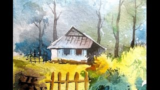 getlinkyoutube.com-Watercolor painting tutorial, watercolor painting for beginners#LANDSCAPE#