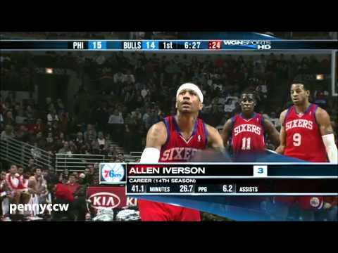 Allen Iverson vs Derrick Rose the Bulls 09/10 NBA *HD *AI's Last NBA game