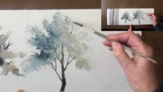 "getlinkyoutube.com-Watercolour demo - Aquarelle   ""How to paint trees Part II"""