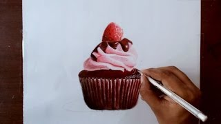 getlinkyoutube.com-Drawing a chocolate cupcake - Prismacolor pencils