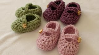 getlinkyoutube.com-How to crochet easy baby Mary Jane shoes - booties / slippers for beginners