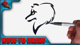 getlinkyoutube.com-How to draw a Wolf Tribal - Easy !